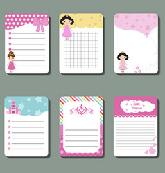 Cute cards notes stickers labels tags with vector