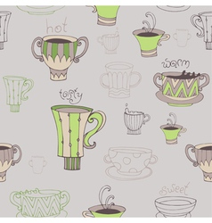 Seamless with cups vector image