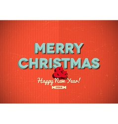 Vintage merry christmas card with scratches vector