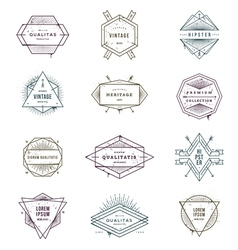 Set of grunge hipster signs and emblems vector
