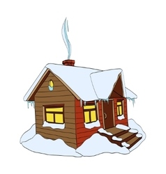 Winter house on white vector image