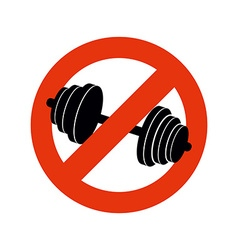 Stop bodybuilding ban sport prohibiting sign for vector