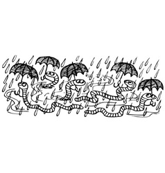 worms in the rain with umbrellas vector image