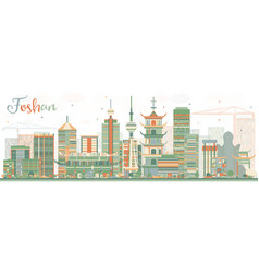 Abstract foshan skyline with color buildings vector