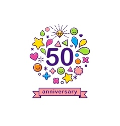 Anniversary background with happy outline icons vector image vector image