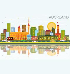 Auckland skyline with color buildings blue sky vector
