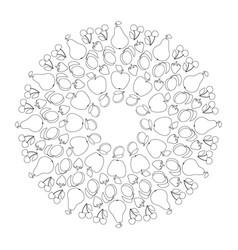 Black and white circular fruity mandala vector