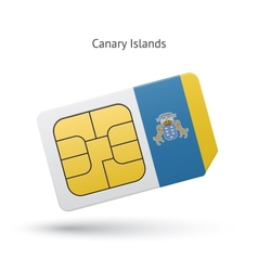 Canary islands mobile phone sim card with flag vector