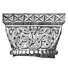 Capital collar vintage engraving vector