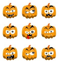 cartoon Halloween pumpkins vector image