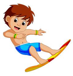 cartoon surfer boy vector image vector image