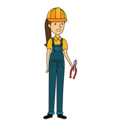 constructor woman with pliers avatar character vector image