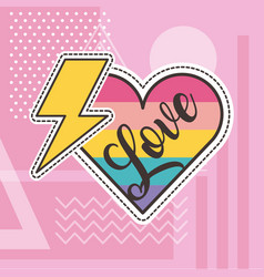Cute patches love heart thunderbolt badge fashion vector