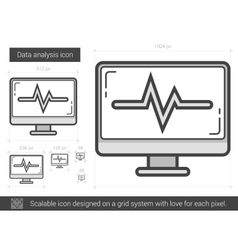 Data analysis line icon vector