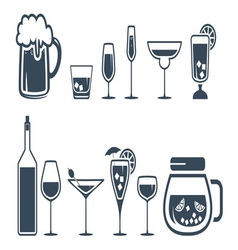 Drink alcohol beverage icons set vector image