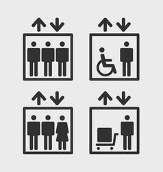 elevators icons vector image vector image