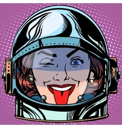 Emoticon tongue emoji face woman astronaut retro vector