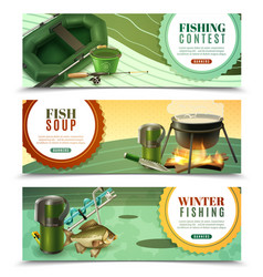 fishing sport horizontal banners set vector image