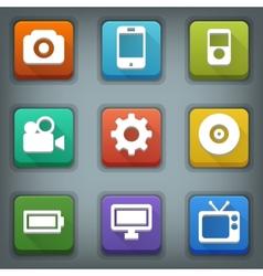 Flat icon set White Symbols Device vector image