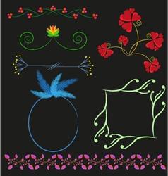 Floral borders frame design elements card vector