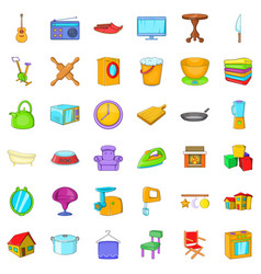 Good house icons set cartoon style vector
