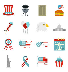 Independence day flag icons set in flat style vector