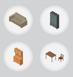 Isometric furniture set of couch sideboard chair vector