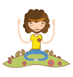 Man meditation and relaxing icon vector