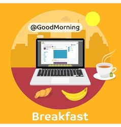 Modern breakfast - Reading the morning news vector image vector image