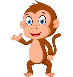 Monkey cartoon presenting vector
