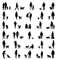 People with dog vector