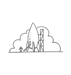 Rocket station startup metaphor vector