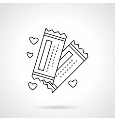 Romantic tickets flat line icon vector image