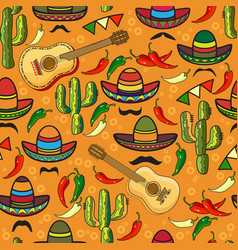 Seamless pattern sombrero guitar pepper vector