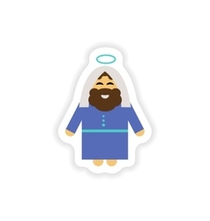 Set of paper stickers on white background father vector