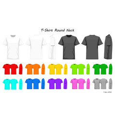 T-shirt round neck color collection set for your vector
