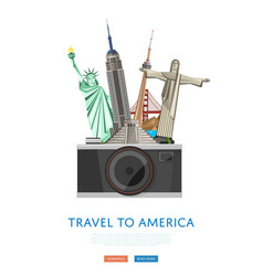 travel to america poster with famous attractions vector image