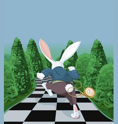 white rabbit running away vector image vector image