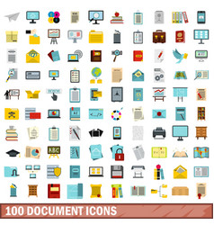 100 document icons set flat style vector image vector image
