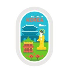 Flat design korea landmarks vector