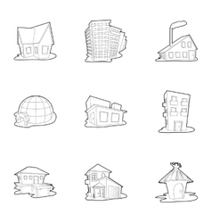 House icons set outline style vector