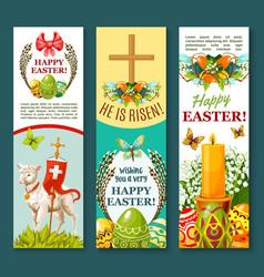 Easter spring holiday festive banner set design vector