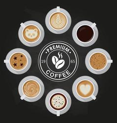 Premium coffee cups americano latte espresso vector