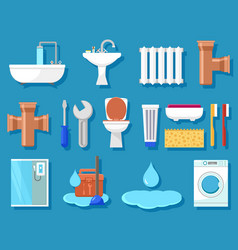 Plumbing icons for bathroom vector
