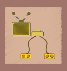 flat shading style icon kids tv game console vector image