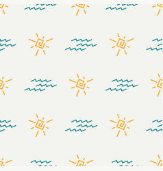 Flat color seamless summer sun pattern vector