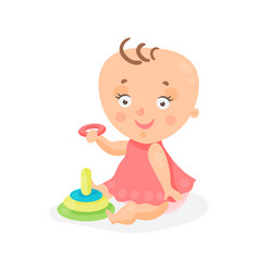Adorable cartoon baby girl in pink dress playing vector