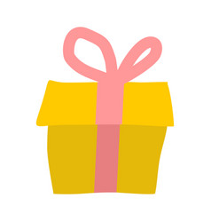 Gift isolated yellow box and red bow on white vector