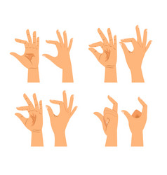 Hand size signs or thickness gestures vector