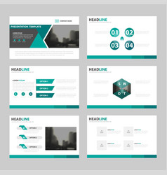 Green triangle presentation templates infographic vector